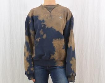 Vintage Champion Sweatshirt, Size Medium, Upcycled, Bleach Destroyed, Grunge, Sporty, 90's, Tumblr Clothing
