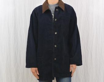 Vintage Oversized Corduroy Jacket, Size Medium, Navy Blue, Grunge, My So Called Life, 90's Clothing, Indie Clothing, Tumblr Clothing