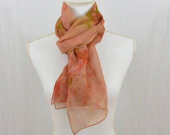 Hand Painted Chiffon Silk Scarf, Muted Salmon, Pink, Green, Earthy, Hippie, Abstract Scarf, Mother's Day Gift, Spring Scarf