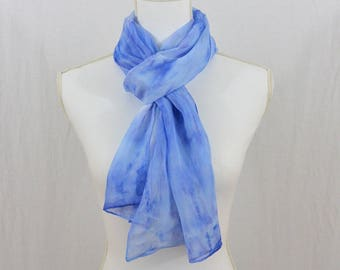 Hand Painted Chiffon Silk Scarf, Blue Scarf, One of a Kind, OOAK, Gift for her, Watercolor Scarf, Abstract Scarf