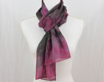 Hand Painted Chiffon Silk Scarf, Maroon, Gray, Dark Mori, Hippie, Abstract Clothing, Watercolor Scarf, Gift for Her, Christmas Gift
