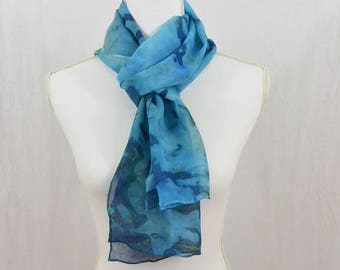 Hand Painted Chiffon Silk Scarf, Blue, Hippie, Gift for her, Watercolor Scarf, Abstract Scarf, Mother's Day Gift, Spring Scarf