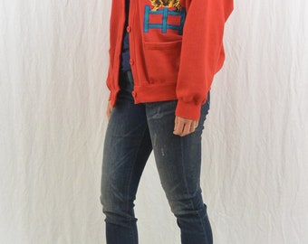 Vintage Oversized Cat Cardigan, Size Medium, Quirky, Unique, Hipster, Funny, Indie Clothing, 80's Clothing