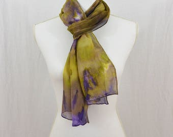 Hand Painted Chiffon Silk Scarf, Purple and Chartreuse Green, Artsy, Abstract Scarf, Boho, Watercolor Scarf, OOAK, Gift for her