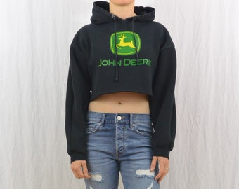 Upcycled John Deer Cropped Hoodie, Farmer, Size Small-Medium, Outdoor, Tractor, Tumblr Clothing, On Trend