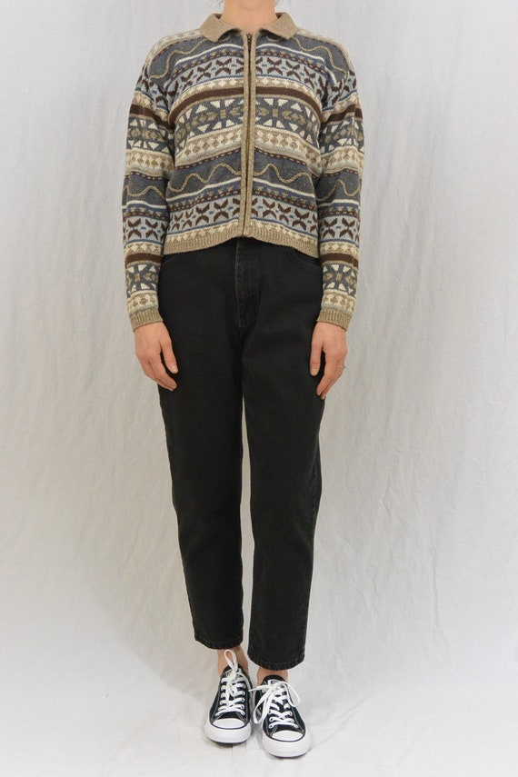 Vintage Cropped Nordic Cardigan, Small Cardigan, M