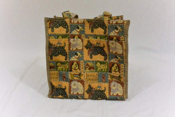 Vintage Dog Tapestry Purse, Shoulder Bag, Dog Tote
