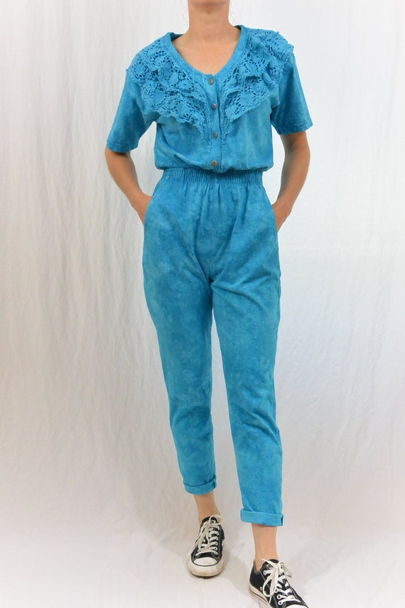 Vintage Blue Tie Dyed Jumpsuit, 80's Clothing, XS-