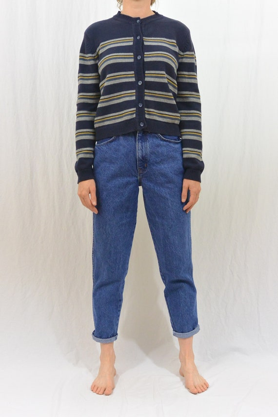 Vintage Striped Cardigan, 90's Aesthetic, XS-Smal… - image 1