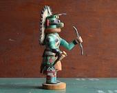 Blue Hunter Kachina carved by Shirley Adams, Hopi Katsina