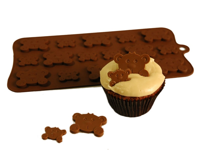 PEEK-A-BOO Teddies Teddy Bear Chocolate Silicone Bakeware image 0
