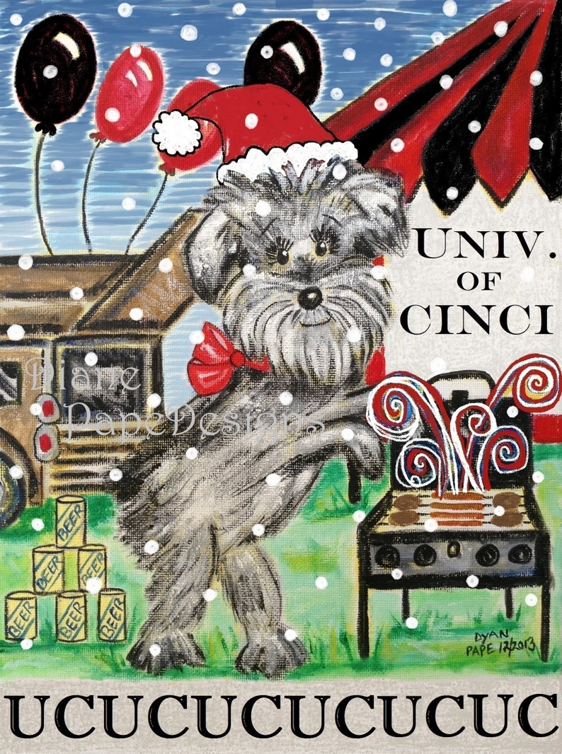 Univ  of Cincinnati 'UC Santa' Box of 12 A2 Size Blank Note Cards with  White Envelopes in a Clear Plastic Box,Tailgating Schnauzer,Football
