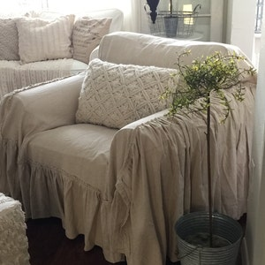 Ruffled Chair Cover   Chair Scarf   Chair Throw   Slip Cover   Linen Slip  Cover   Recover Couch   Farmhouse Decor   Cottage Chic