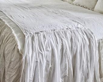 Ruffled Bed Scarf   Ruffled Bed Linens   Ruffled Bed Cover   Bed Runner    Ruffled Bed   Bed Runner   Linen Bedding   Shabby Chic Bedding