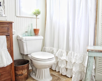 White Ruffled Shower Curtain With Rows Of Tattered Ruffles