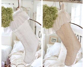 linen ruffled christmas stocking shabby chic christmas stocking farmhouse stockings farmhouse christmas xmas stockings