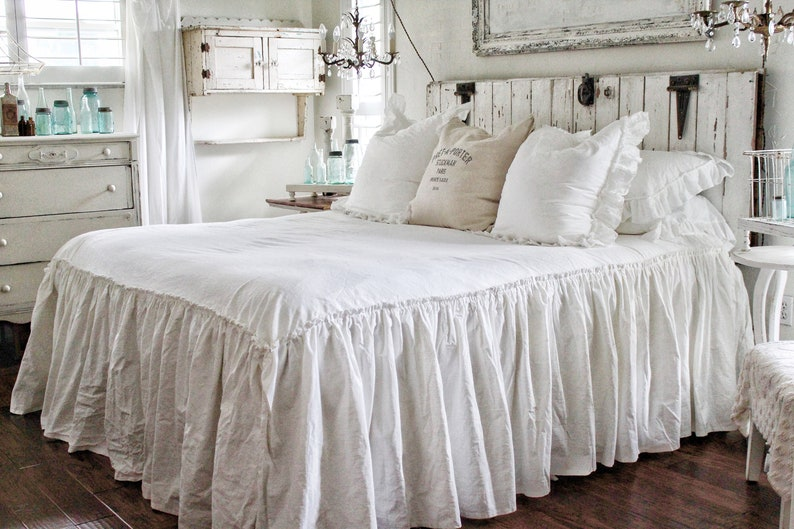 Fantastic Ruffled Bedspread Shabby Chic Bedding Ruffled Bed Cover Ruffled Coverlet Ruffled Bedding Linen Bedding Ruffled Bedding Home Interior And Landscaping Staixmapetitesourisinfo