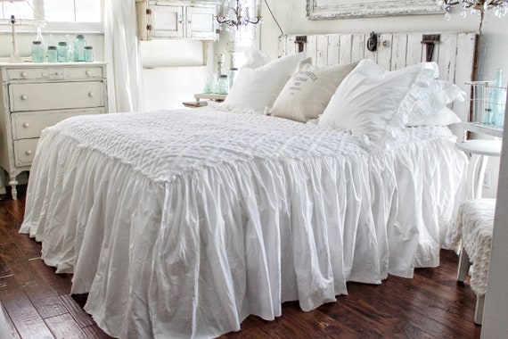 Ruffled Chenille Coverlet Bedspread Shabby Chic Bedding