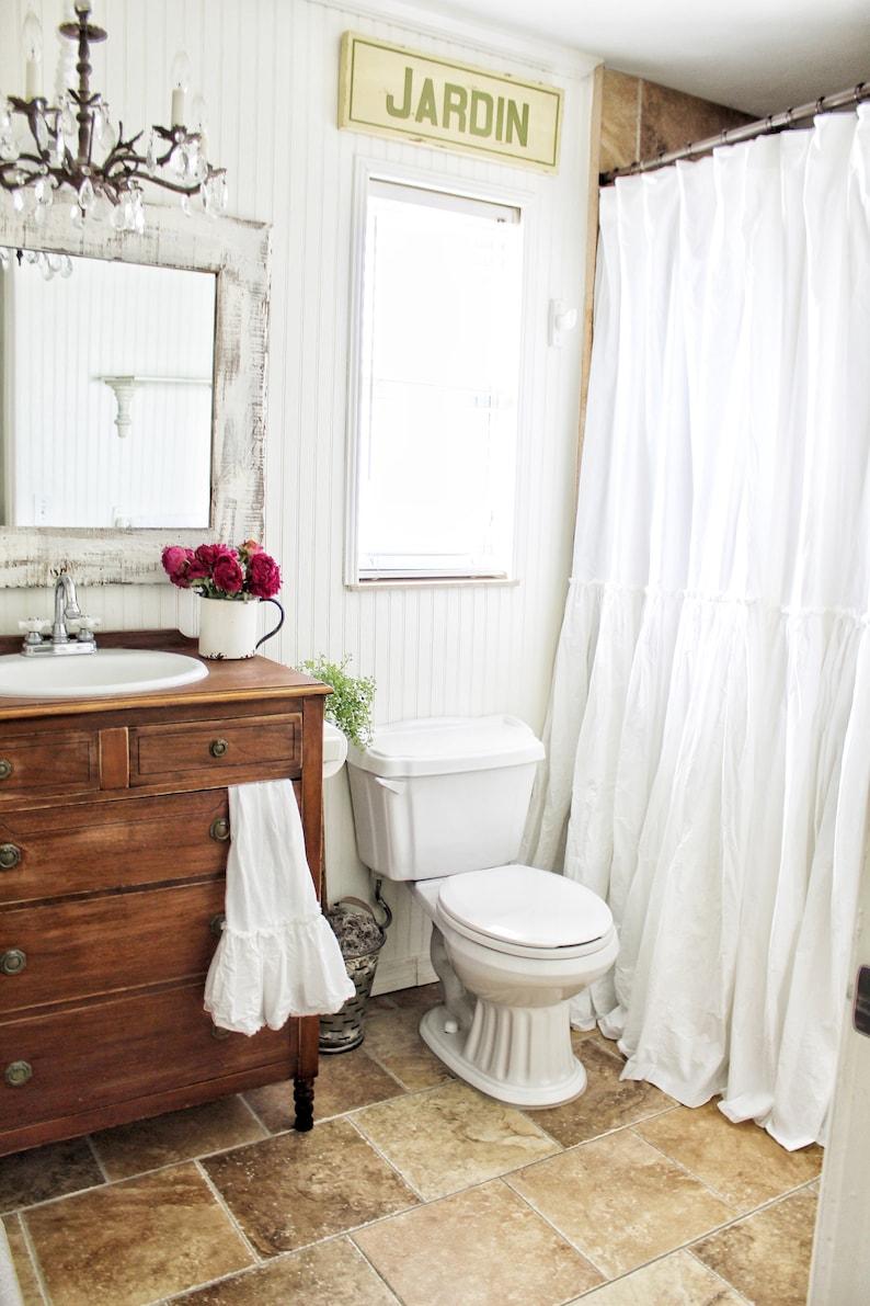 Shabby Chic Ruffled White Shower Curtain Crisp