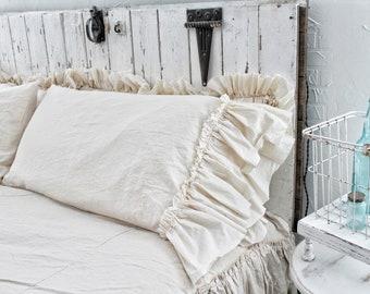 Ruffled Pillow Cases | Ruffled Shams | Pillow Cases | Farmhouse Linens | Pillow Cases | Linen Bedding | Shabby Chic Bedding