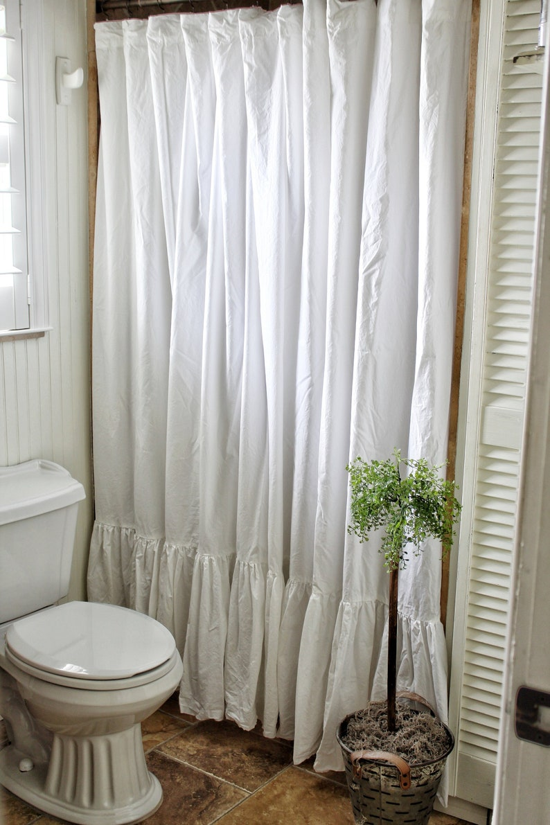 Shabby Chic Ruffled Extra Long Shower Curtain Crisp White
