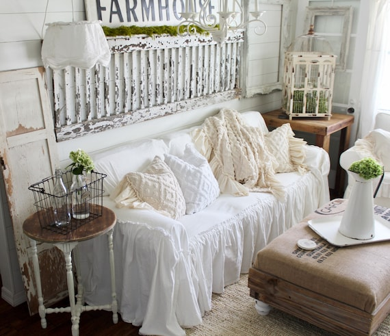 Astounding Slipcover Ruffled Slipcover Sofa Cover Sofa Scarf Slip Cover Couch Cover Farmhouse Decor Shabby Chic Sofa Cottage Home Remodeling Inspirations Cosmcuboardxyz