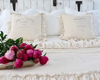 Ruffled Euro Covers   Ruffled Shams   ShabbyChic Pillow Cases   Farmhouse Linens   Pillow Cover   Linen Bedding   Shabby Chic Bedding