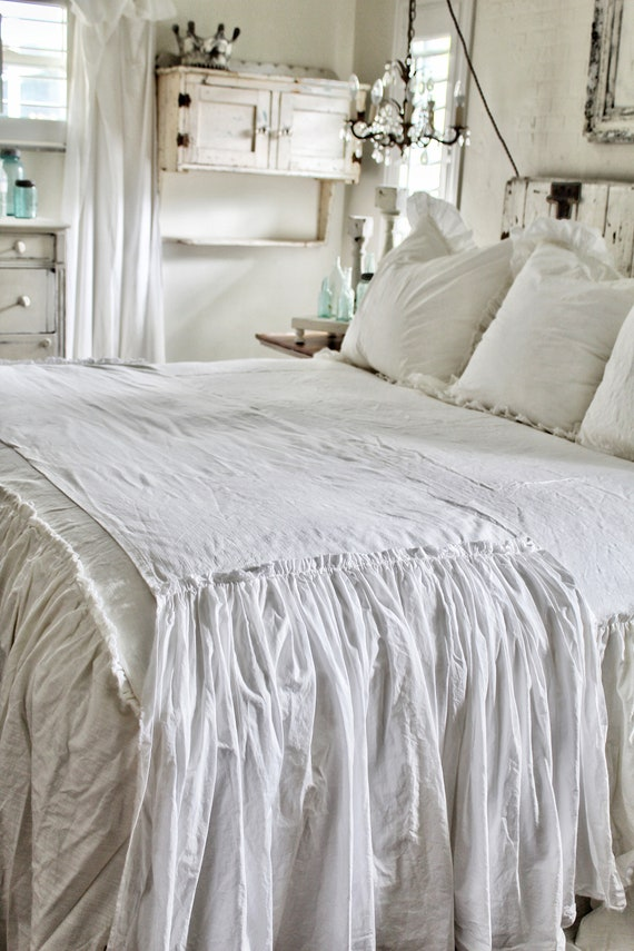 ruffled bed scarf ruffled bed linens ruffled bed cover etsy. Black Bedroom Furniture Sets. Home Design Ideas