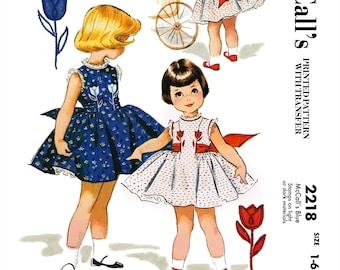 Vintage McCall's 2218 Size 1-6 - 1958 Girls Dress - Child, Toddler, Kids - DIGITAL Sewing Pattern