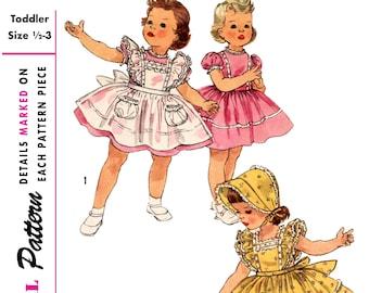 Vintage Simplicity Pattern 1896 Size 1/2-3 - 1950 Girls Dress, Apron, Pinafore, Bonnet - Child, Toddler, Kids - DIGITAL Sewing Pattern