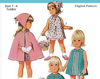 Vintage Simplicity Pattern 9239 Size 1-4 - 1970 Girls Dress, Scarf, Reversible Cape - Child, Toddler, Kids - DIGITAL Sewing Pattern