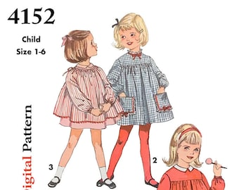 Vintage Simplicity Pattern 4152 Size 1-6 - 1961 Girls Smock Dress - Child, Toddler, Kids - DIGITAL Sewing Pattern