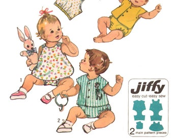 Simplicity 9338 DIGITAL Pattern 1970s Jiffy Easy Newborn Baby's One Piece Snap On Suit Dress or Top and Shorts Onsie Style Size Newborn