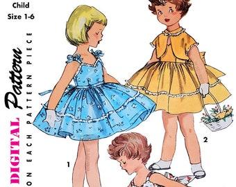 Vintage Simplicity Pattern 1149 Size 1-6 - 1955 Girls Dress Jacket - Child, Toddler, Kids - DIGITAL Sewing Pattern