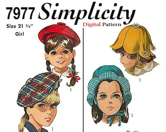 Vintage Simplicity Pattern 7977 Size 21 3/4 inches - 1968 Hat, Beret, Kids Sewing Pattern