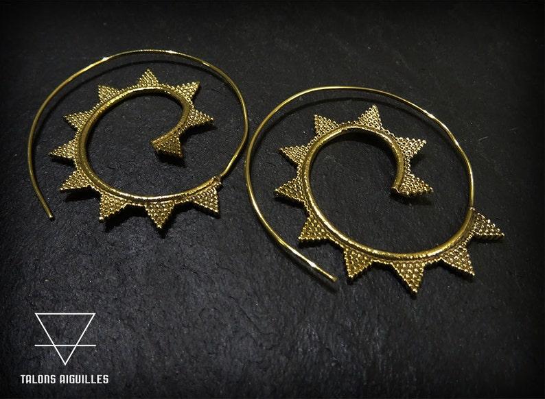 spiral earrings Ethnic brass earing spikes spiral earrings 41-617
