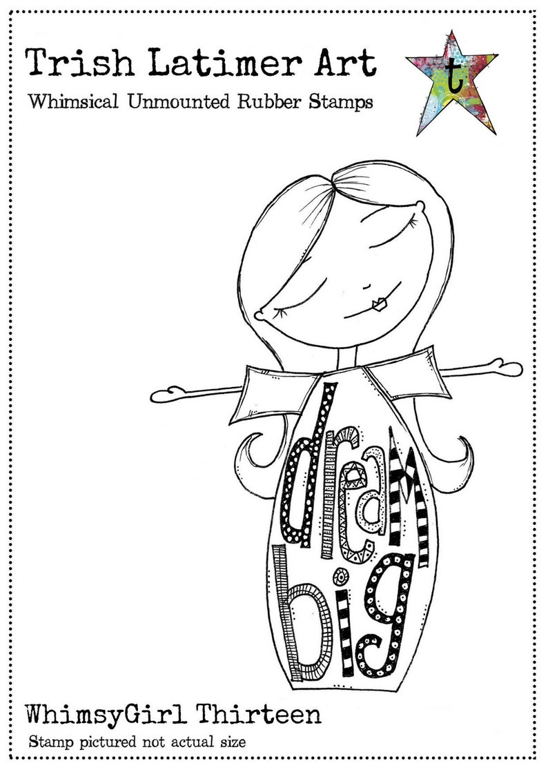 WhimsyGirl Thirteen: An unmounted rubber art stamp image 0