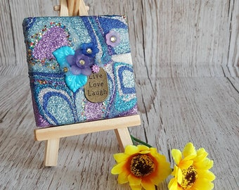 Blue and Purple Flower Glitter Canvas Art Original Abstract Artwork no. 17, mini canvas with easel