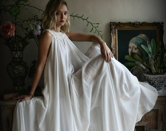 35d00e7a8e 100% Cotton Nightgown Jane Austen Full Sweep Lingerie Sleepwear White  Nightgown Cotton Lingerie Honeymoon Cotton Sleepwear