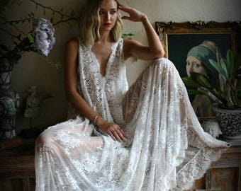 6792164b530 Bridal Lace Backless Nightgown Wedding Sleepwear Bridal Lingerie Off White  Lace Lingerie Lace Lingerie Honeymoon Lingerie