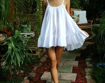 92b752545 White Cotton Baby Doll Nightgown Ruffle Cottage Chic Shabby Chic Cotton  White Lingerie Cotton Sleepwear Honeymoon Cotton Nightgown