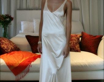 White Satin Slip Dress