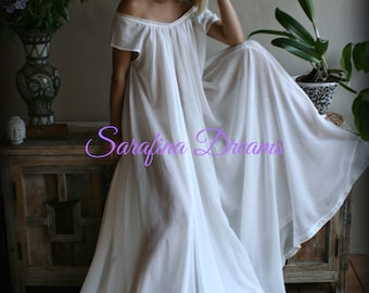 1feae86520 100% Cotton Nightgown Cap Sleeve Jane Austen Full Sweep Lingerie Sleepwear  White Nightgown Cotton Lingerie Honeymoon Cotton Sleepwear