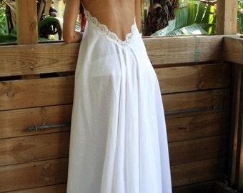 8da7803f26 100% Cotton White Backless Nightgown Lace Halter Bridal Night Gown Bridal  Lingerie Wedding Lingerie Sleepwear Honeymoon