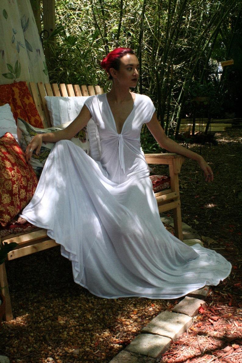 30cf36905e White Silk Knit Bridal Nightgown Wedding Lingerie Keyhole Tie