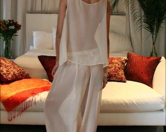 Silk Pajamas Champagne Chiffon Bridal Lingerie Versailles French Lace Wedding Lingerie Bridal Sleepwear Silk Sleepwear Silk Lingerie