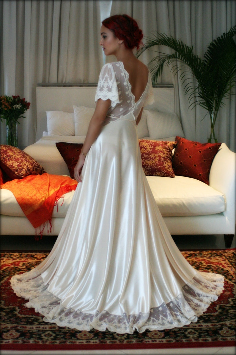 9d331ea7dc Bridal Nightgown Amelia Satin Embroidered Lace Wedding