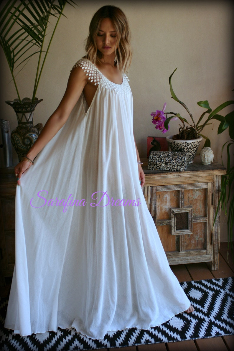 ef6addd28f Cotton Nightgown White Cotton Sleepwear Honeymoon Cotton Lingerie Bridal  Lingerie Venice Lace Nightgown Wedding Nightgown