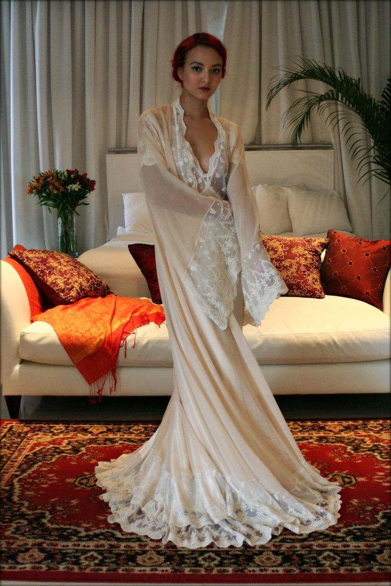 Bridal Silk Robe Champagne Chiffon Bridal Lingerie Wedding  45b9b6d01