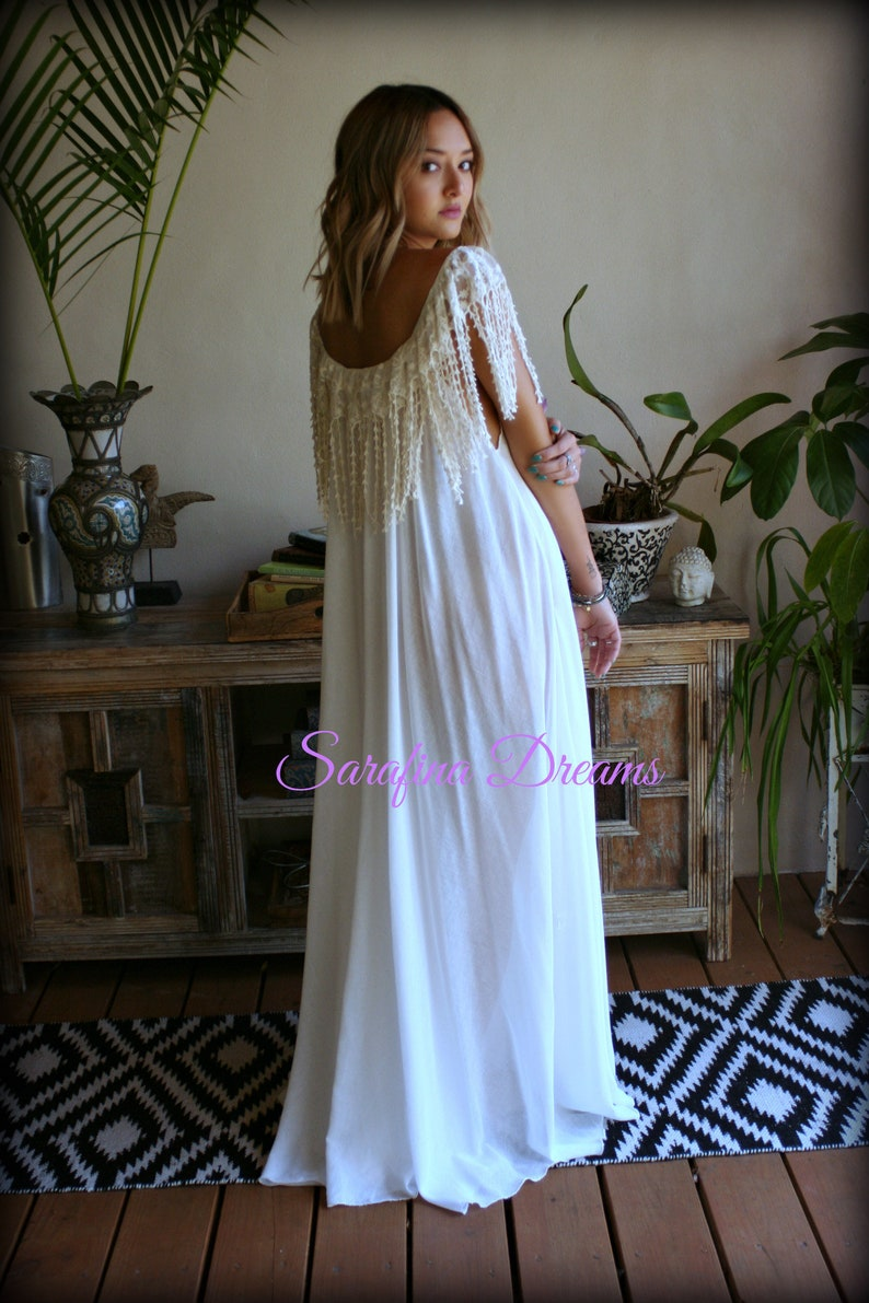 302087d55 Bohemian Cotton Nightgown Off White Cotton Sleepwear Honeymoon